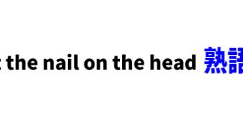 hit the nail on the head ■意味:的を射る、図星をさす、核心を突く